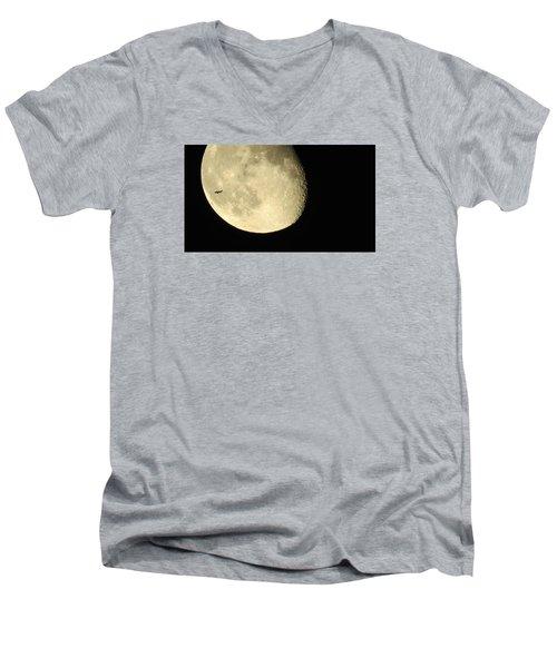 Moon And Plane Over Sanibel Men's V-Neck T-Shirt by Melinda Saminski
