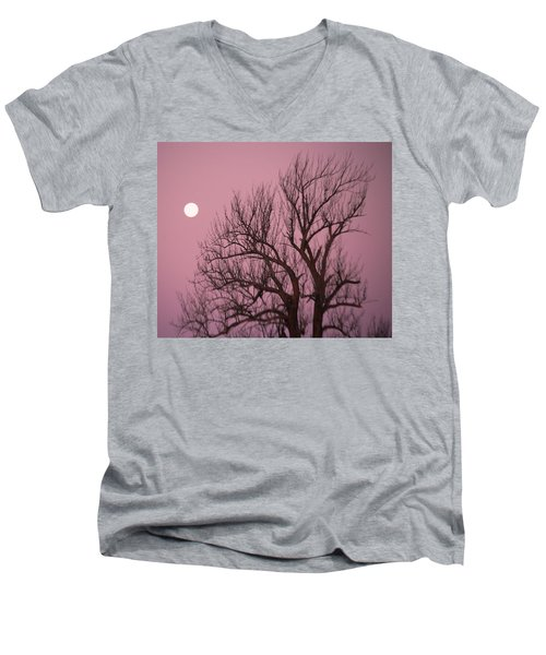 Men's V-Neck T-Shirt featuring the photograph Moon And Tree by Sumoflam Photography