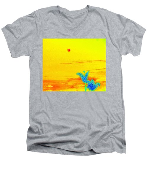 Moon And Two Palms Men's V-Neck T-Shirt