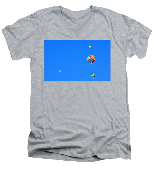 Men's V-Neck T-Shirt featuring the photograph Moon At 8 Oclock by AJ Schibig