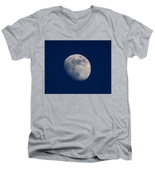 Men's V-Neck T-Shirt featuring the photograph Moon From Bow, Wa by Karen Molenaar Terrell