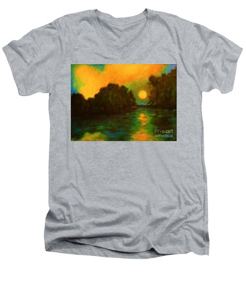 Moon Glow Men's V-Neck T-Shirt by Alison Caltrider