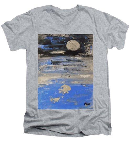 Moon In October Sky Men's V-Neck T-Shirt by Mary Carol Williams