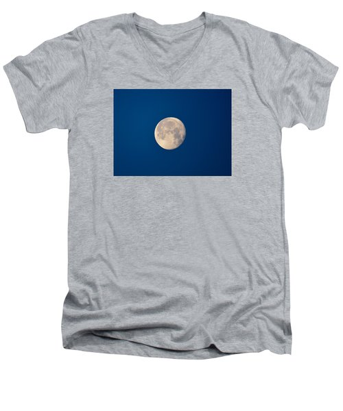 Men's V-Neck T-Shirt featuring the photograph Moon In The Morning by Dacia Doroff