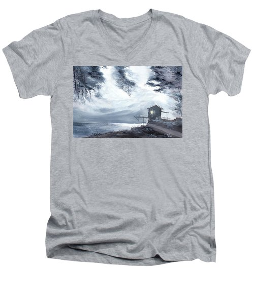 Men's V-Neck T-Shirt featuring the painting Moon Light New by Anil Nene