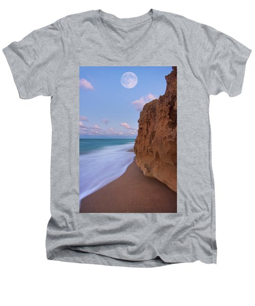 Moon Over Hutchinson Island Beach Men's V-Neck T-Shirt