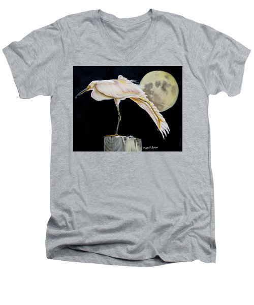 Men's V-Neck T-Shirt featuring the painting Moon Over Mississippi A Snowy Egrets Perspective by Phyllis Beiser