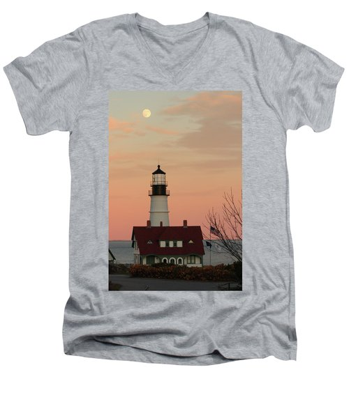 Moon Over Portland Head Lighthouse Men's V-Neck T-Shirt
