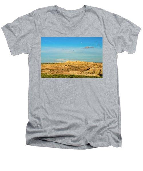 Moon Over The Badlands Men's V-Neck T-Shirt