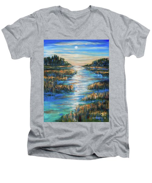 Moon Over Waterway Men's V-Neck T-Shirt