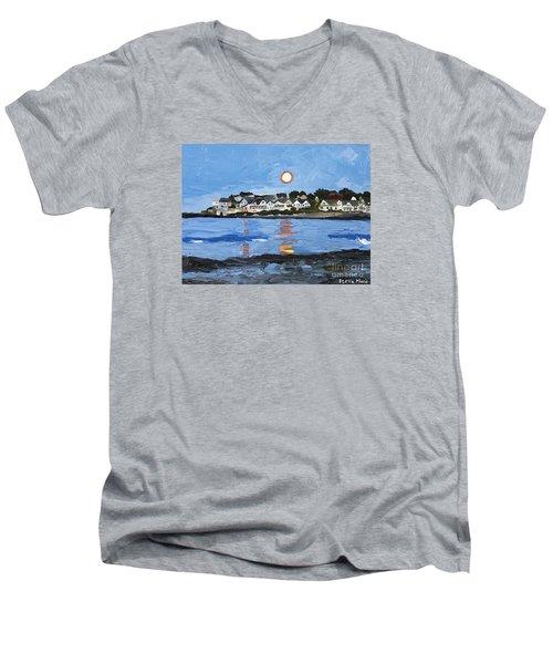 Moon Over York Beach Men's V-Neck T-Shirt