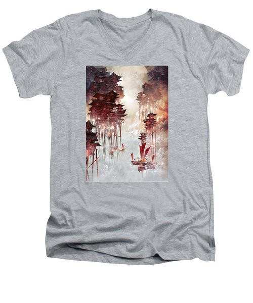 Moon Palace Men's V-Neck T-Shirt by Te Hu