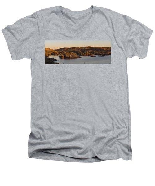 Moon Rise Over Pukaskwa Men's V-Neck T-Shirt