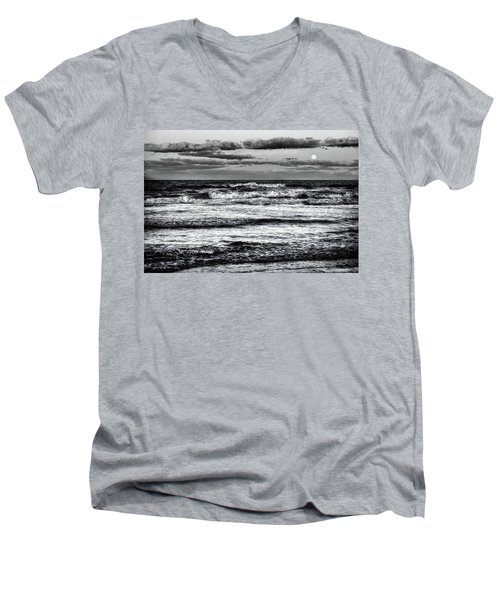 Men's V-Neck T-Shirt featuring the photograph Moon Rising  by Louis Ferreira