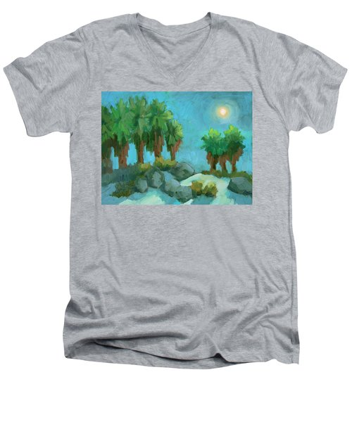 Men's V-Neck T-Shirt featuring the painting Moon Shadows Indian Canyon by Diane McClary