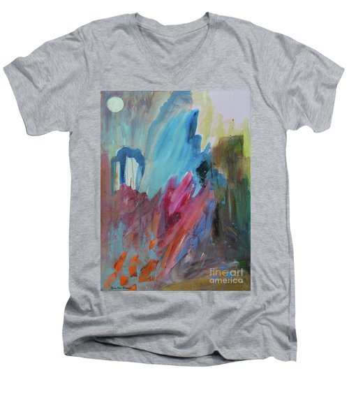 Men's V-Neck T-Shirt featuring the painting Moonchaser by Robin Maria Pedrero