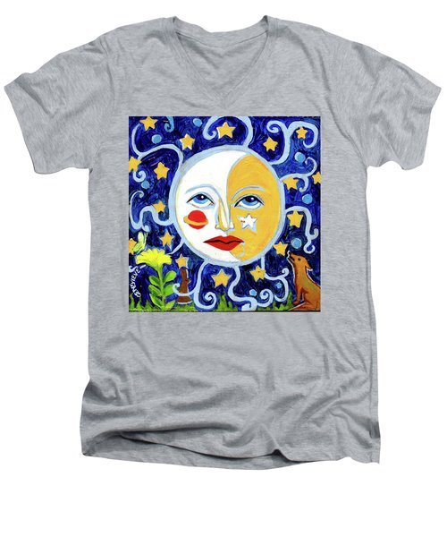 Men's V-Neck T-Shirt featuring the painting Moonface With Wolf And Stars by Genevieve Esson