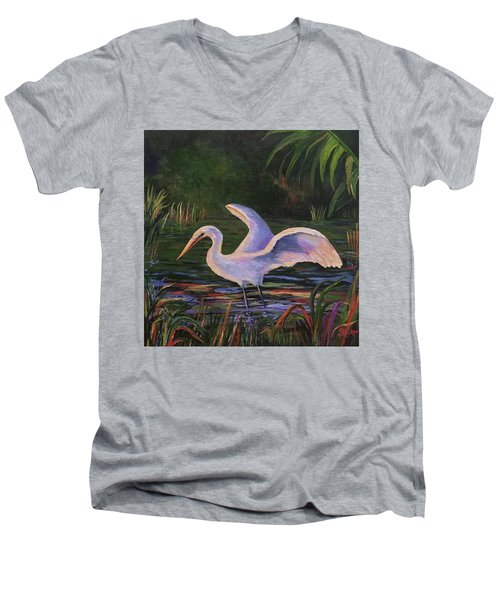 Moonlight Egret Men's V-Neck T-Shirt