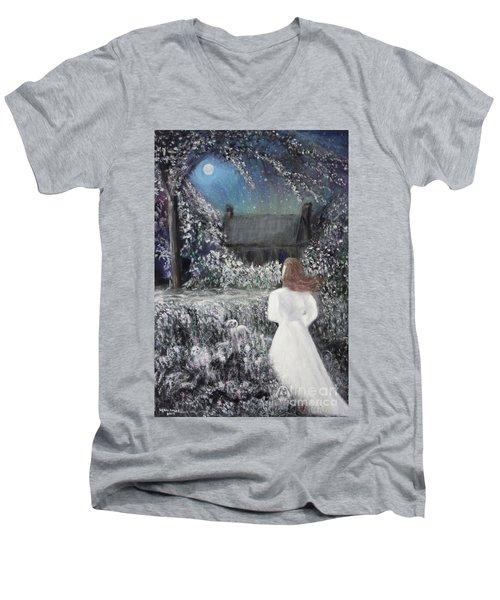 Moonlight Garden Men's V-Neck T-Shirt by Lyric Lucas