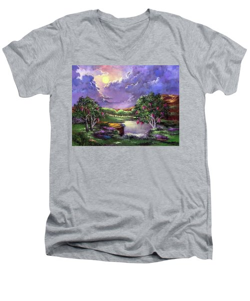 Moonlight In The Woods Men's V-Neck T-Shirt