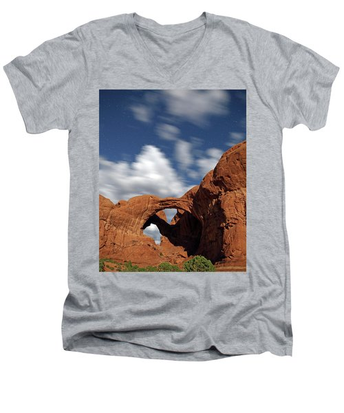 Moonlight On Double Arch In Arches Np Men's V-Neck T-Shirt