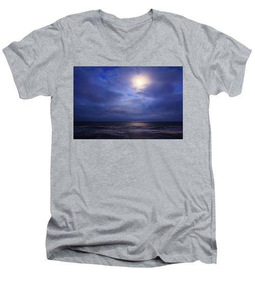 Moonlight On The Ocean At Hatteras Men's V-Neck T-Shirt