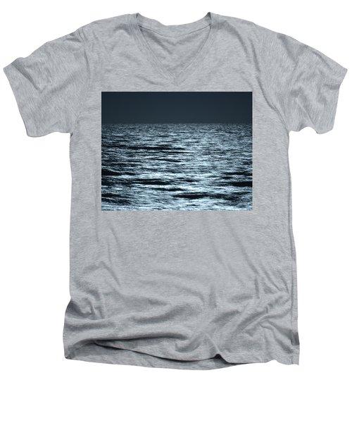 Moonlight On The Ocean Men's V-Neck T-Shirt by Nancy Landry