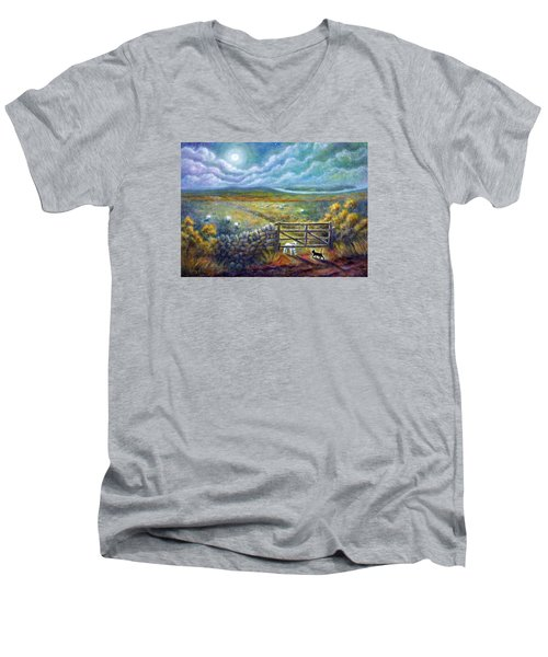 Moonlight Rendezvous Men's V-Neck T-Shirt by Retta Stephenson