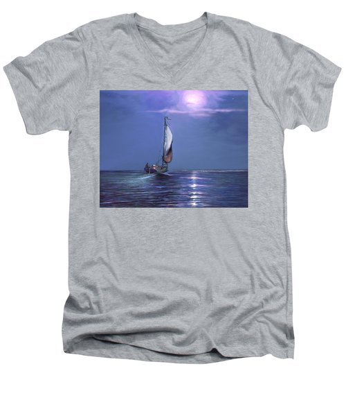 Moonlight Sailing Men's V-Neck T-Shirt