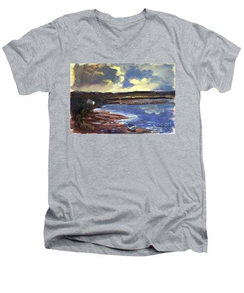 Moonlit Beach Men's V-Neck T-Shirt by Genevieve Brown