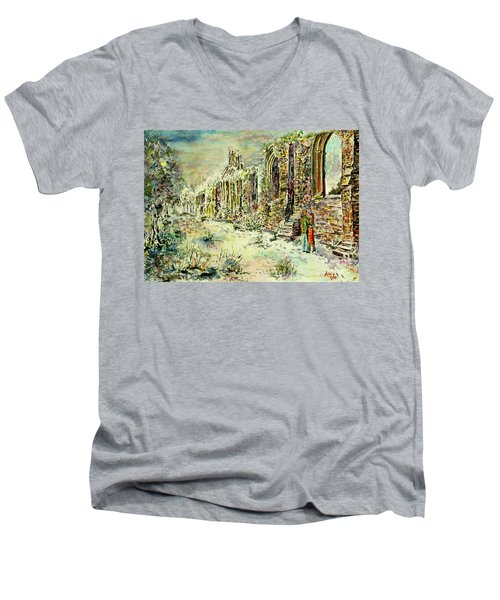 Moonlit Footsteps On Holy Ground Men's V-Neck T-Shirt by Alfred Motzer