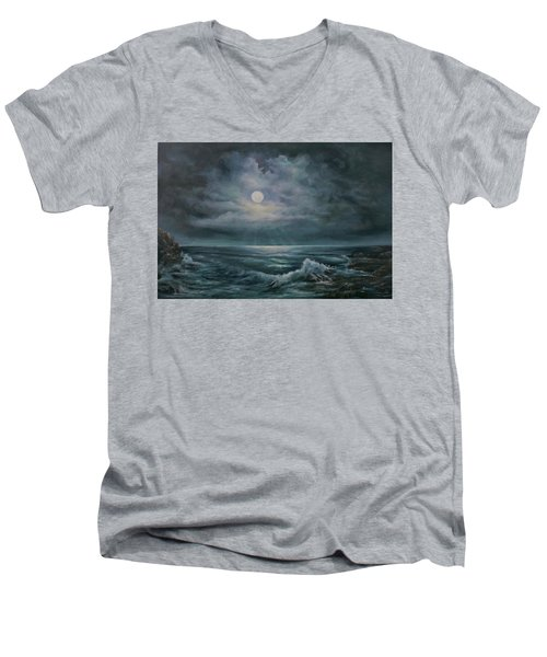 Moonlit Seascape Men's V-Neck T-Shirt