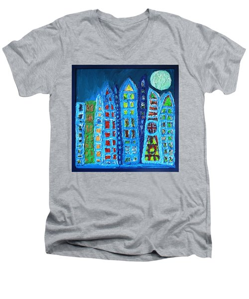 Moonlit Metropolis Men's V-Neck T-Shirt