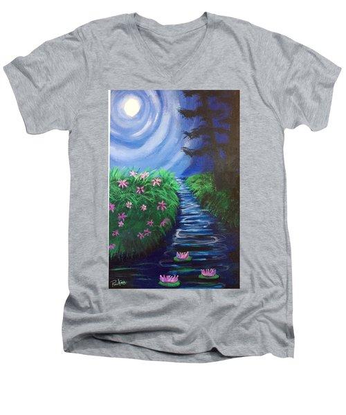 Moonlit Stream Men's V-Neck T-Shirt