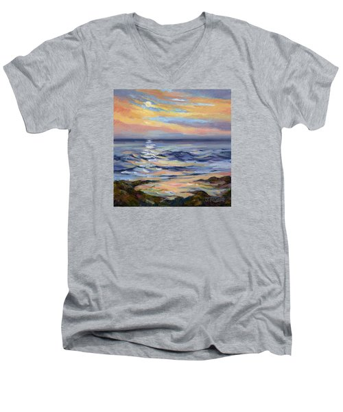 Moonrise At Cabrillo Beach Men's V-Neck T-Shirt by Jane Thorpe