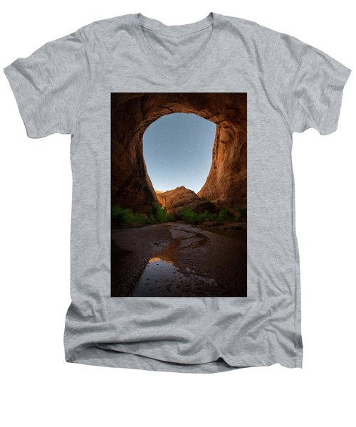 Men's V-Neck T-Shirt featuring the photograph Moonrise At Coyote Gulch by Dustin LeFevre