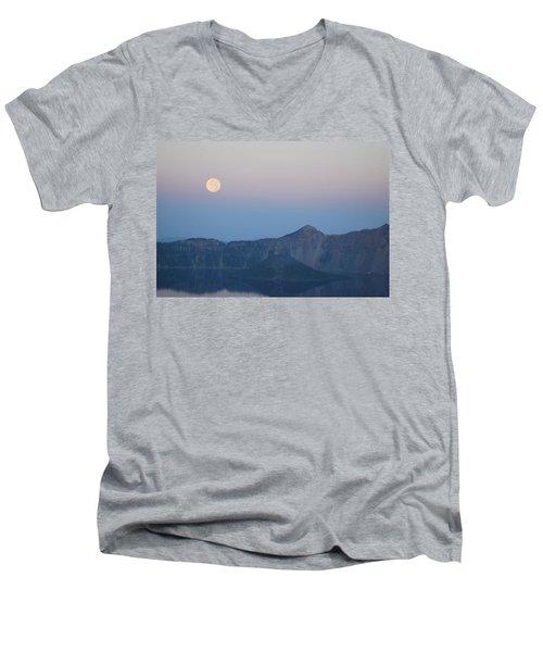 Moonset At Crater Lake Men's V-Neck T-Shirt
