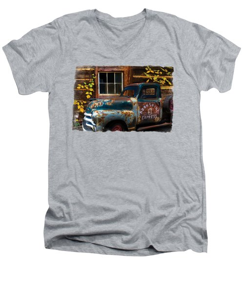 Moonshine Express Bordered Men's V-Neck T-Shirt by Debra and Dave Vanderlaan