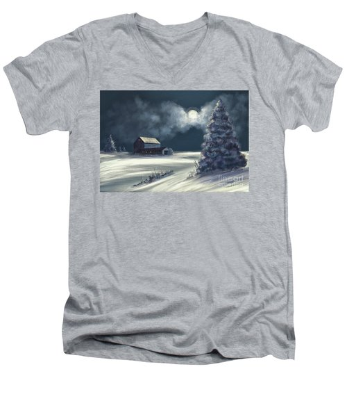 Men's V-Neck T-Shirt featuring the digital art Moonshine On The Snow by Lois Bryan