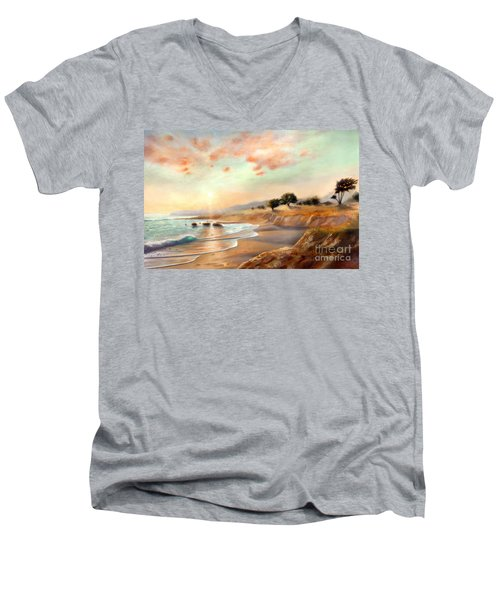 Moonstone Beach California Men's V-Neck T-Shirt