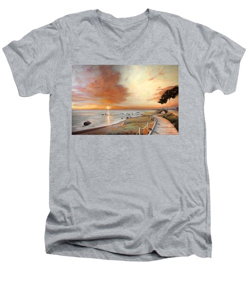 Moonstone Cambria Sunset Men's V-Neck T-Shirt by Michael Rock