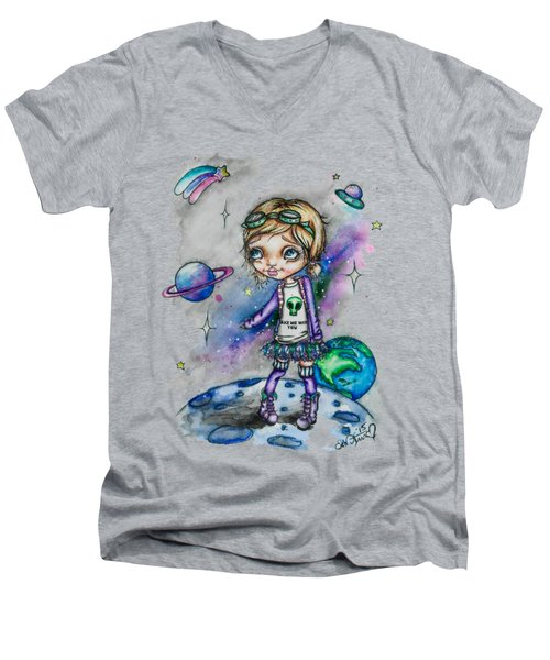 Moonwalker Men's V-Neck T-Shirt by Lizzy Love