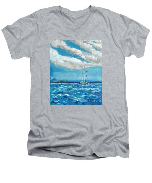 Men's V-Neck T-Shirt featuring the painting Moored In The Bay by J R Seymour
