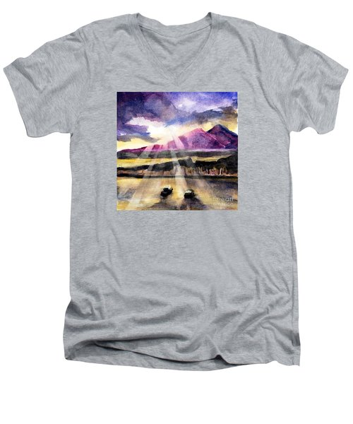 Mooring In Vancouver Tonight Men's V-Neck T-Shirt by Randy Sprout