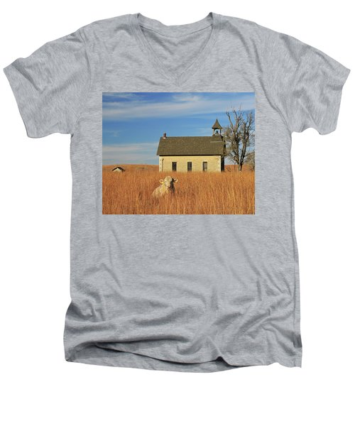 Moo's That? Men's V-Neck T-Shirt by Christopher McKenzie