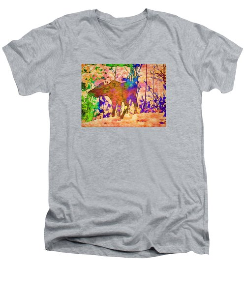 Moose Abstract Men's V-Neck T-Shirt