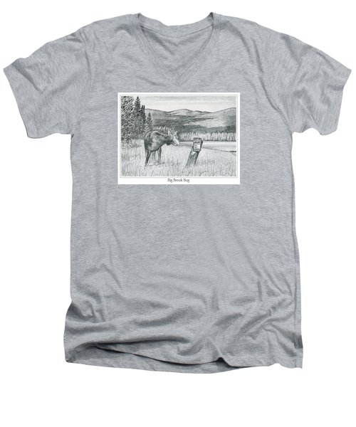 Moose At Big Brook Bog Men's V-Neck T-Shirt