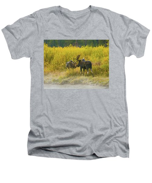 Men's V-Neck T-Shirt featuring the photograph Moose Couple by Wesley Aston