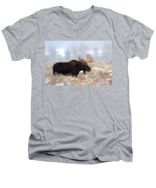 Men's V-Neck T-Shirt featuring the photograph Moose In The Fog Silhouette by Adam Jewell