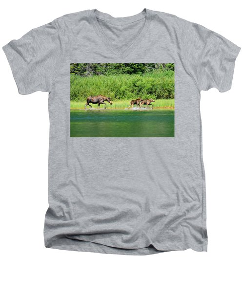 Moose Play Men's V-Neck T-Shirt by Greg Norrell